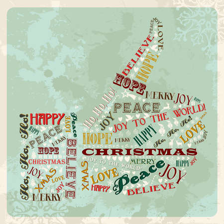 Vintage Merry Christmas concept words in hand thumb up shape. Vector illustration layered for easy manipulation and custom coloring. Vector