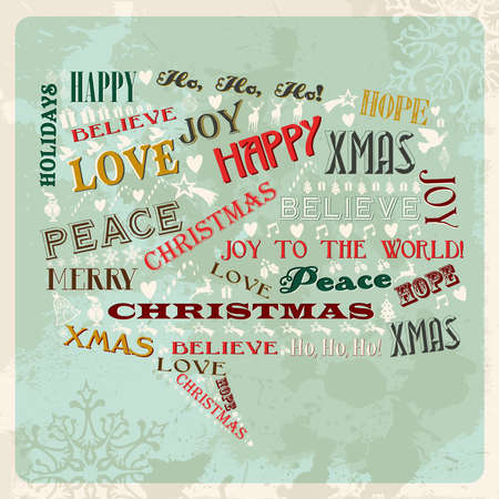 Vintage Merry Christmas concept words and icons in social bubble shape. Vector illustration layered for easy manipulation and custom coloring. Vector