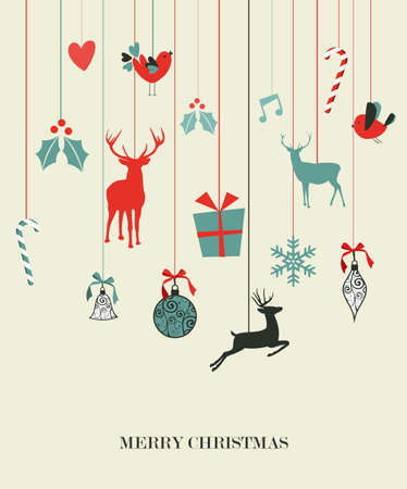hang up: Retro Christmas hanging elements set. Vector illustration layered for easy manipulation and custom coloring.