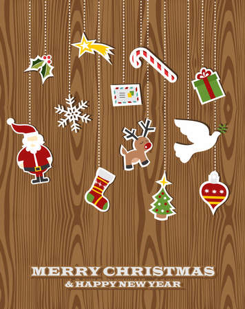 Retro Christmas hanging elements over wooden background. Vector illustration layered for easy manipulation and custom coloring. Vector