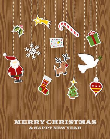 promo: Retro elementi di Natale appeso su sfondo di legno. Illustrazione vettoriale a strati per una facile manipolazione e la colorazione personalizzata. Vettoriali