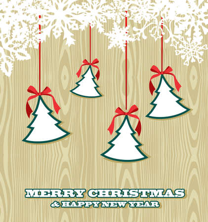 hang up: Retro Christmas for sale hanging  trees over wooden background. Vector illustration layered for easy manipulation and custom coloring. Illustration