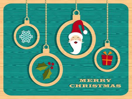 Rétro éléments de Noël mis sur fond en bois. Vector illustration en couches pour une manipulation aisée et la coloration personnalisée.