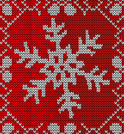 jacquard: Vintage hand craft Xmas snowflake embroidery seamless pattern. Vector illustration layered for easy manipulation and custom coloring.