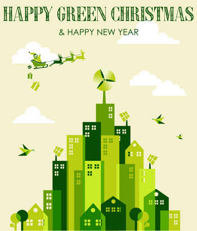 Happy green environment Christmas greeting card. Vector illustration layered for easy manipulation and custom coloring. Vector