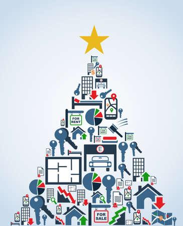 Icône immobilier mis dans la carte de voeux de Noël Arbre. Vector illustration en couches pour une manipulation aisée et la coloration personnalisée.