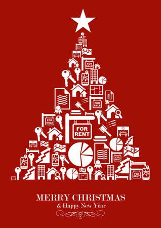 icone immobilier: Ic�ne immobilier mis dans la carte de voeux de No�l Arbre. Vector illustration en couches pour une manipulation ais�e et la coloration personnalis�e.