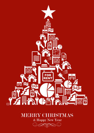 Real estate icon set in Christmas Tree greeting card. Vector illustration layered for easy manipulation and custom coloring. Vector