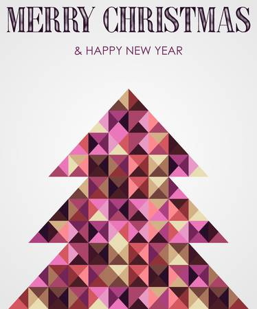Contemporary multicolored mosaic Christmas and new year pine tree. Vector illustration layered for easy manipulation and custom coloring. Stock Vector - 16555798