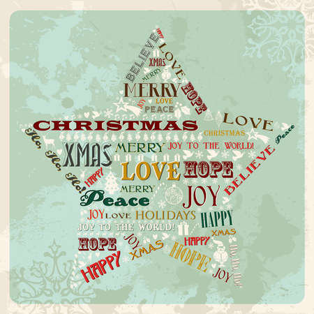 Vintage Merry Christmas concept words in star shape. Vector illustration layered for easy manipulation and custom coloring. Vector