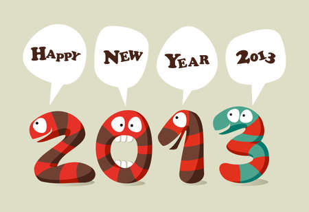 Happy New 2013 year cartoon greeting card.  illustration layered for easy manipulation and custom coloring. Vector