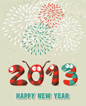 Cartoon Happy New 2013 year greeting card background.  illustration layered for easy manipulation and custom coloring. Vector
