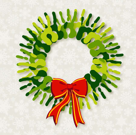 gift of hope: Go green diversity hands in Christmas wreath.  file with a drop shadow effect in multiply mode at 75% level. This shadow is in the corresponding element and included as style.  Illustration