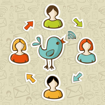 rss feed: Social media networks RSS feed interaction with users. Illustration
