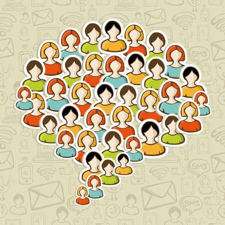 Social media networks users in speech bubble shape over pattern Stock Vector - 16572169