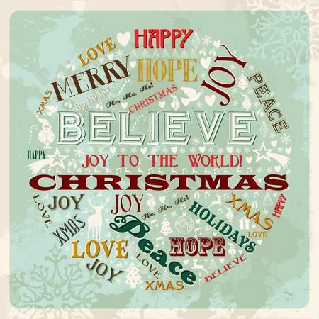 believe: Feliz Navidad del vintage palabras conceptuales y los iconos en forma de círculo