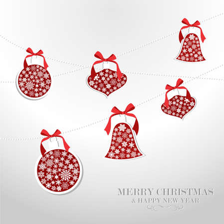 Merry Christmas and Happy new year snowflakes baubles greeting card Stock Vector - 16572174