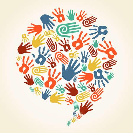 educacion ambiental: Diversidad multi�tnica huellas de las manos en forma de burbujas sociales del discurso. Archivo vectorial en capas para una f�cil manipulaci�n y coloraci�n personalizada.