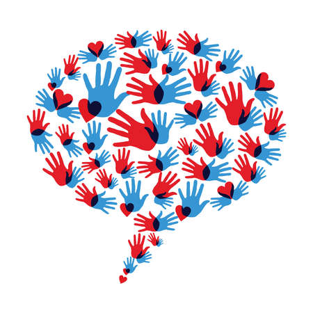 Diversity hand prints and hearts in speech bubble. Vector file layered for easy manipulation and custom coloring. Vector