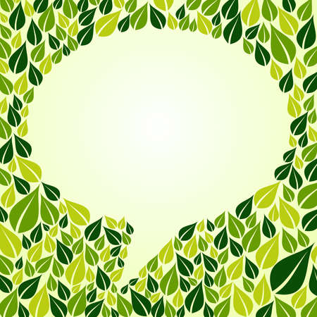 environmental conversation: Green leaf composition around social bubble shape. Vector file layered for easy manipulation and custom coloring.