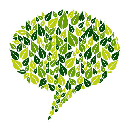 environmental conversation: Green leaves silhouette in bubble shape. Vector file layered for easy manipulation and custom coloring Illustration