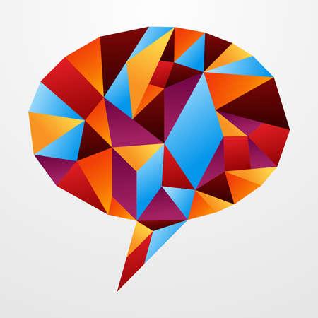 hablando: Origami papel multicolor en forma de cuadro de di�logo social, aislado m�s de blanco. Ilustraci�n vectorial en capas para una f�cil manipulaci�n y coloraci�n personalizada. Vectores