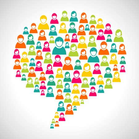personas comunicandose: El marketing online: la diversidad de perfiles de personas en forma social de la burbuja del discurso. Archivo vectorial en capas para una f�cil manipulaci�n y coloraci�n personalizada.