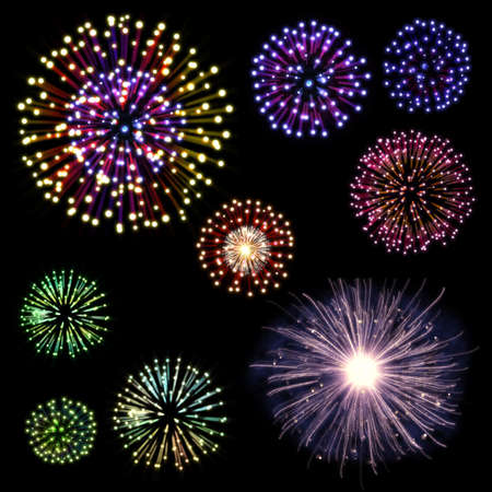 Collection of colorful fireworks, sparklers, salute and petards explosions. Design elements isolated over black background Stock Photo - 16755922