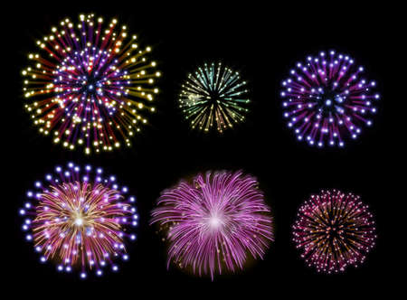 Collection of colorful fireworks, sparklers, salute and petards explosions. Design elements isolated over black background Stock Photo - 16755903