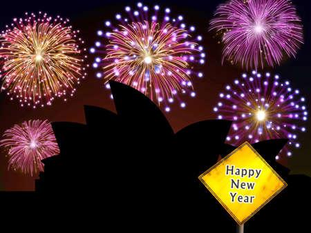 Fireworks happy New year Sidney city night scene with Opera house building landmark silhouette Stock Photo - 16755921