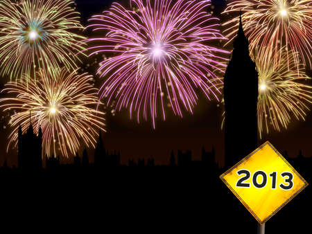 Fireworks happy New year London city night scene with Big Ben tower landmark silhouette and road sign  photo