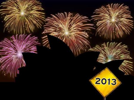Fireworks happy New year Sidney city night scene with Opera house building landmark silhouette Stock Photo - 16755925