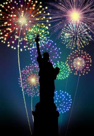 Fireworks happy New year New York city night Liberty Statuel scene  Stock Photo - 16755908