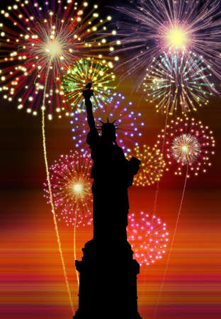 newyear night: Fireworks happy new year New York city night liberty statue scene  Stock Photo