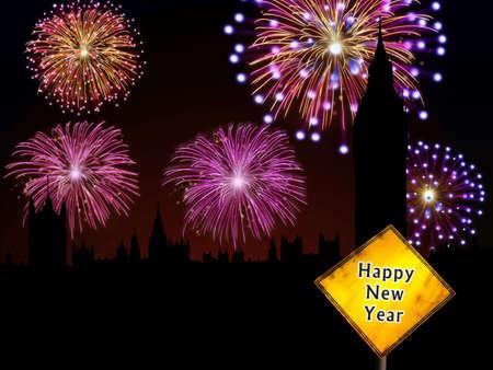 Fireworks happy New year London city night scene with Big Ben tower landmark silhouette  photo