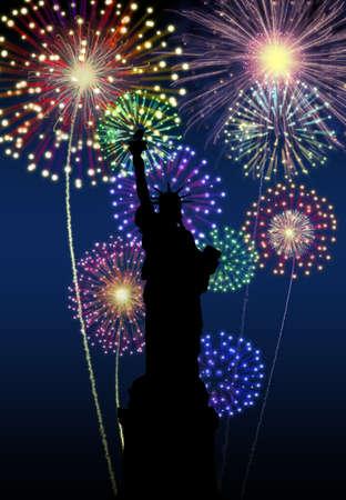 Feux d'artifice heureux Nouvel an New York City la nuit la Liberté Statuel scène Banque d'images