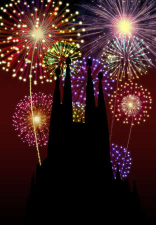 Fireworks happy New year Barcelona city night Tibidabo church scene  photo
