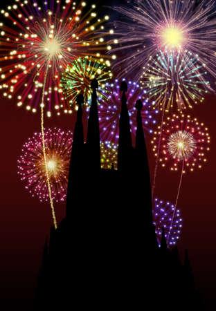 Fireworks happy New year Barcelona city night Tibidabo church scene Stock Photo - 16755901