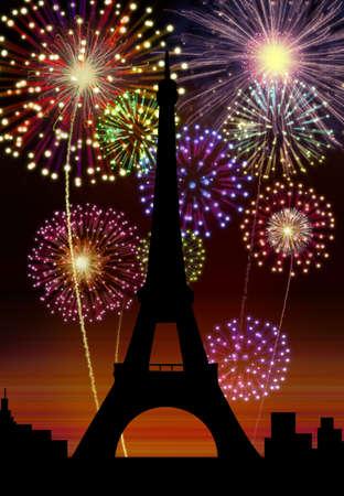Fireworks happy New year Paris city night Tour Eiffel scene Stock Photo - 16755914