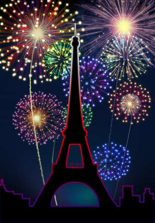 Fireworks happy New year Paris city night Tour Eiffel scene  Stock Photo - 16755911