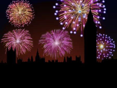 Fireworks happy New year London city Big Ben and House of Parliament scene Stock Photo - 16755902