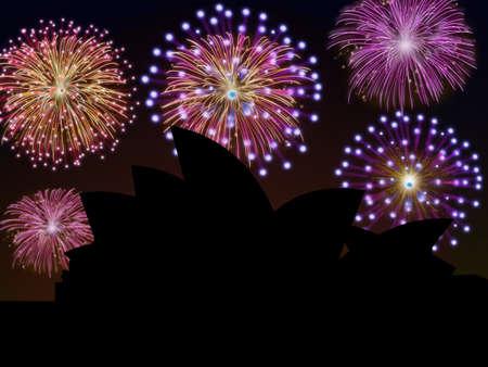 Fireworks happy New year Opera House Sidney Stock Photo - 16755904