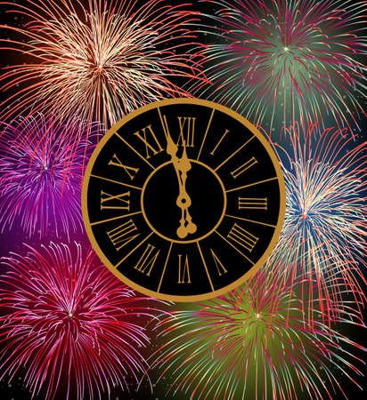 Happy New Year fireworks eve night time with clock with transparencies layered for easy manipulation and customization  Vector