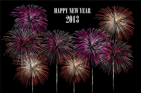Happy New Year 2013 fireworks night scene with transparencies layered for easy manipulation and customisation  Stock Vector - 16808623