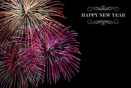 newyear: Feliz A�o Nuevo fuegos artificiales escena nocturna Tarjeta de felicitaci�n con las transparencias en capas para una f�cil manipulaci�n y personalizaci�n