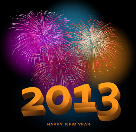 Happy New Year 2013 fireworks night scene background  with transparencies layered for easy manipulation and customisation Stock Vector - 16808632