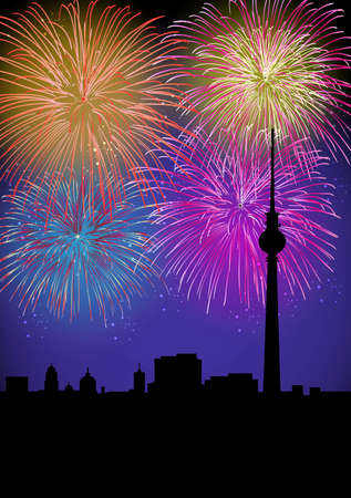 celebration eve: Happy New Year fiireworks Berlin city night TV tower silhouette scene with transparencies layered for easy manipulation and customisation  Illustration