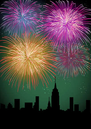 Happy New Year fireworks skyscraper silhouette night city scene with transparencies layered for easy manipulation and customization Stock Vector - 16808668
