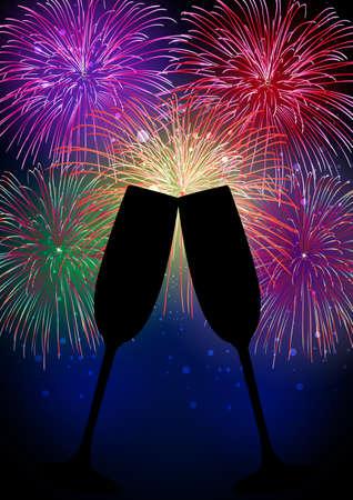 newyear: Feliz A�o Nuevo con fuegos artificiales silueta champ�n cristal con transparencias para una f�cil manipulaci�n y personalizaci�n
