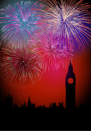newyear night: Happy New Year fireworks London with Big Ben Tower silhouette night scene with transparencies layered for easy manipulation and customisation
